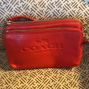Coach Wristlet in Cardinal, never used